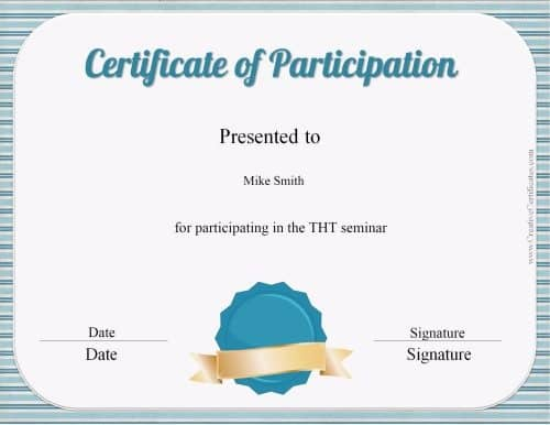 Free participation award certificate customize print for Certificate of participation template