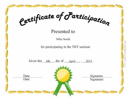 Free Participation Award Certificate – Certificate of Participation Format