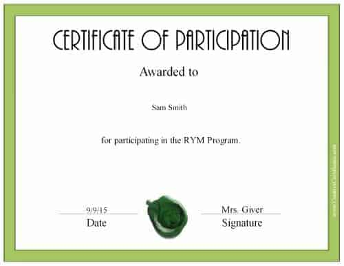 custom participation certificate with a green border and a green wax seal