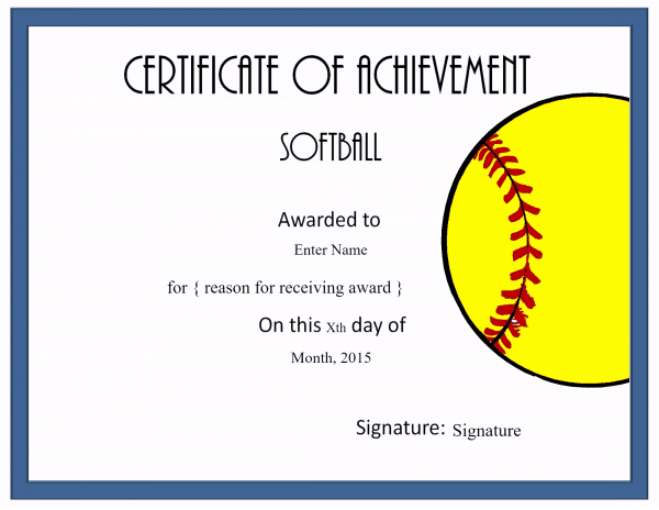 Free Softball Certificate Templates - Customize Online