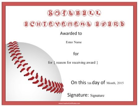 Softball Certificate Templates