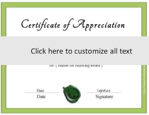 template for certificate with a green border (all text can be customized)