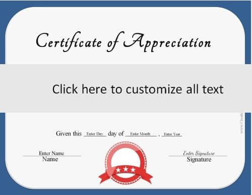 blue border with a red ribbon on generic certificate
