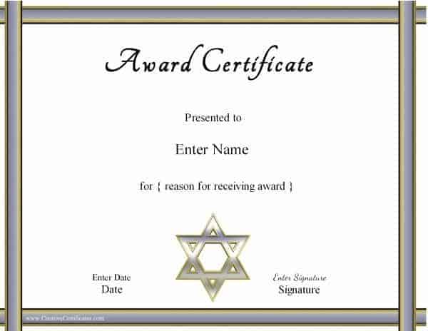 Jewish Certificates – Naming Certificates Free Templates