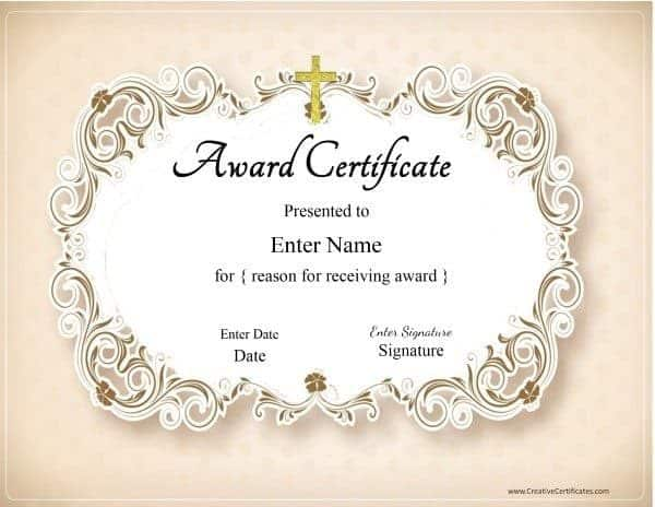 Christian Certificate Template - Customizable