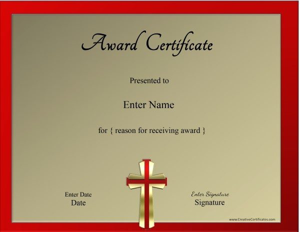 christian certificate template customizable