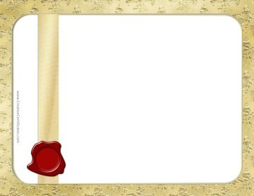 gold border with a gold background and a gold ribbon with a red wax seal
