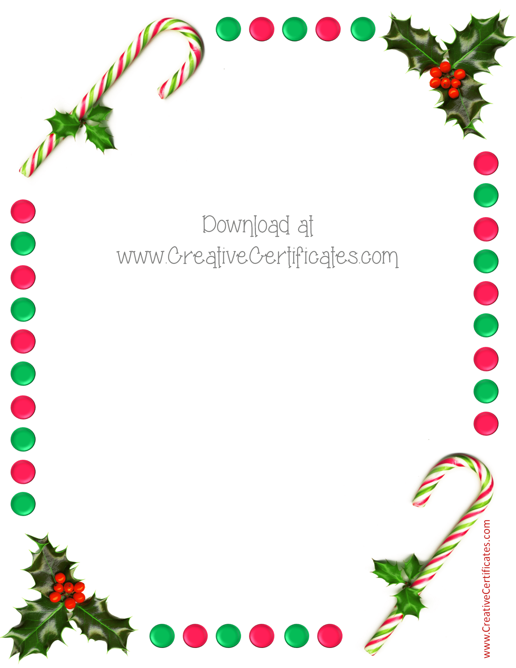 christmas borders border holly and candy sticks