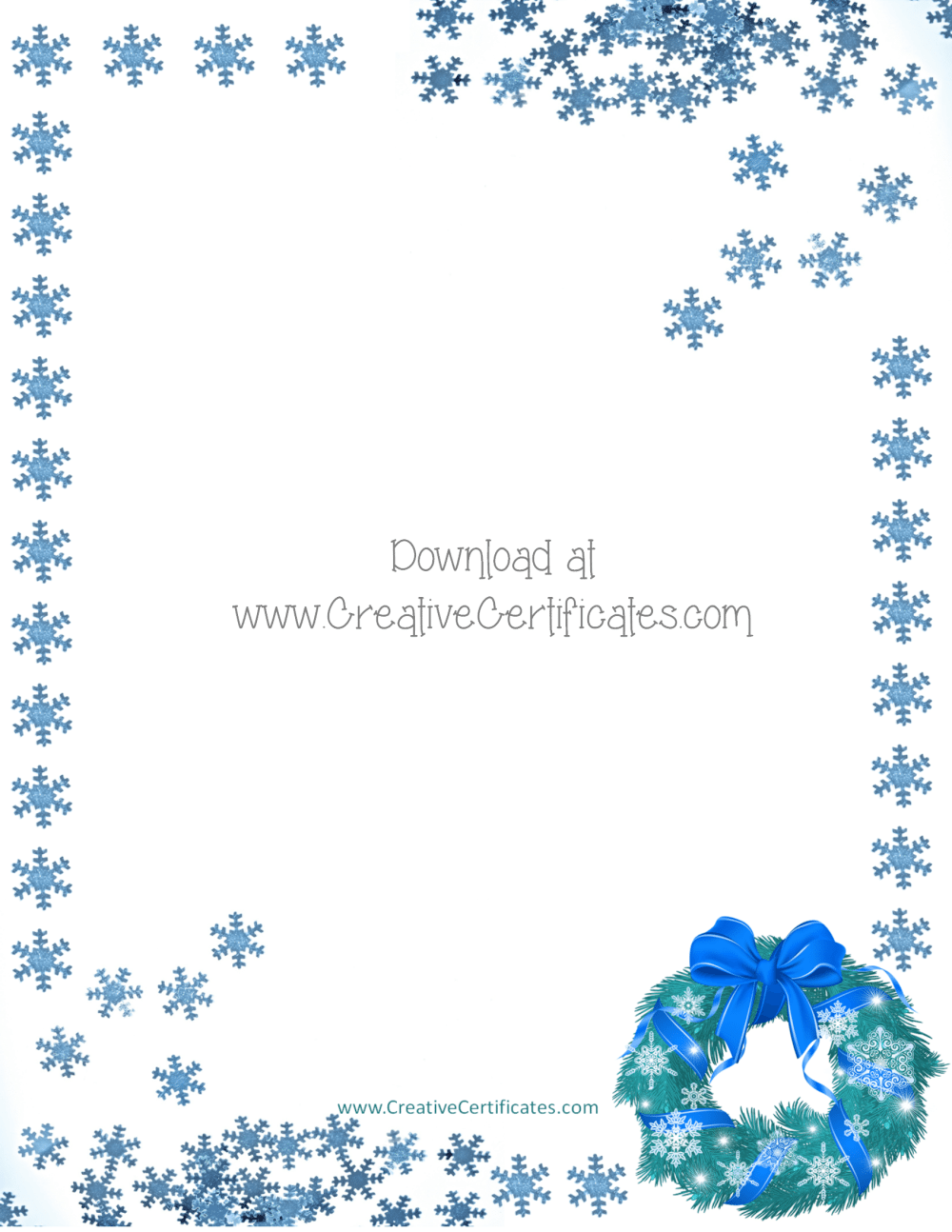 christmas borders border blue wreath