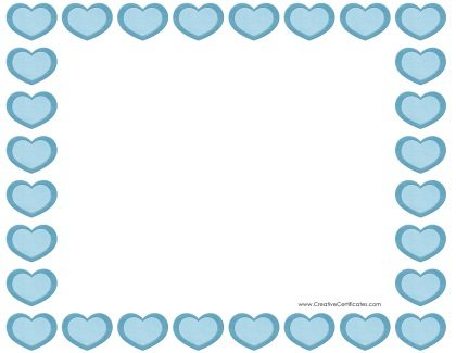 heart border with blue hearts