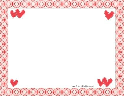 border in shades of red and hearts