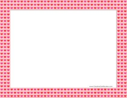 pink border with red hearts