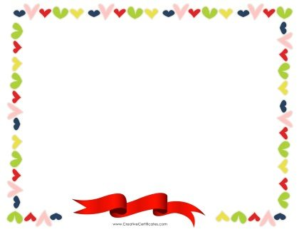 heart border with a red ribbon