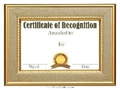 Customized sample recognition certificate template with a gold frame