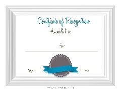 sample recognition certificate template