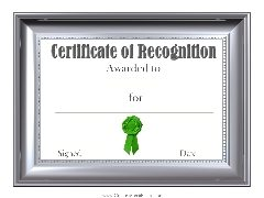 recognition template certificate