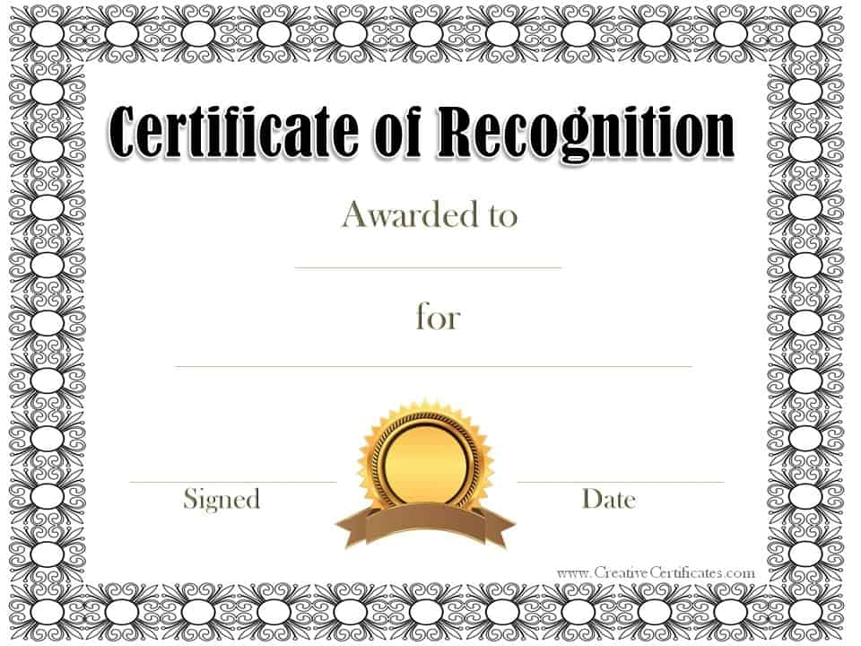 Free certificate of recognition template – Printable Certificate of Recognition