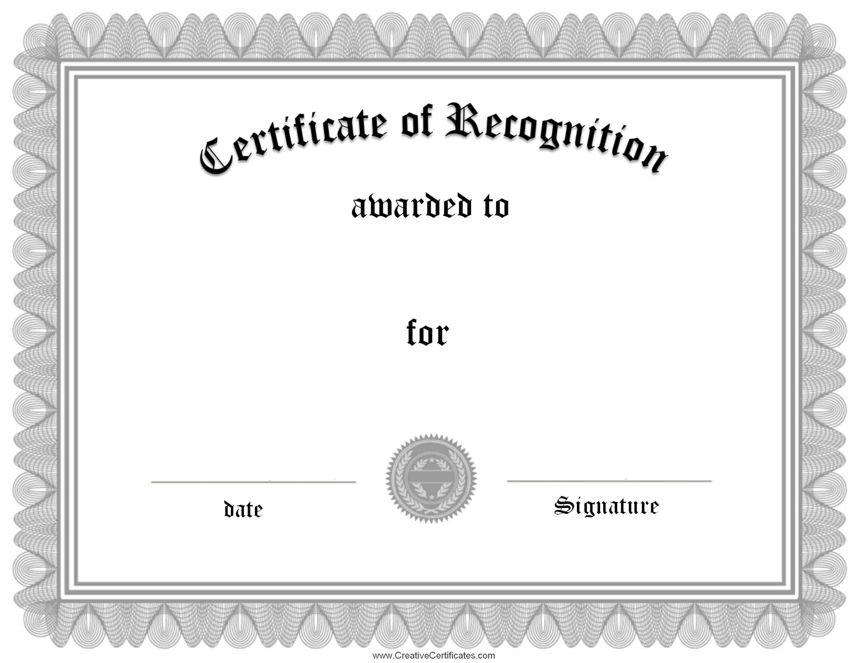 Free certificate of recognition template – Formal Certificate Template