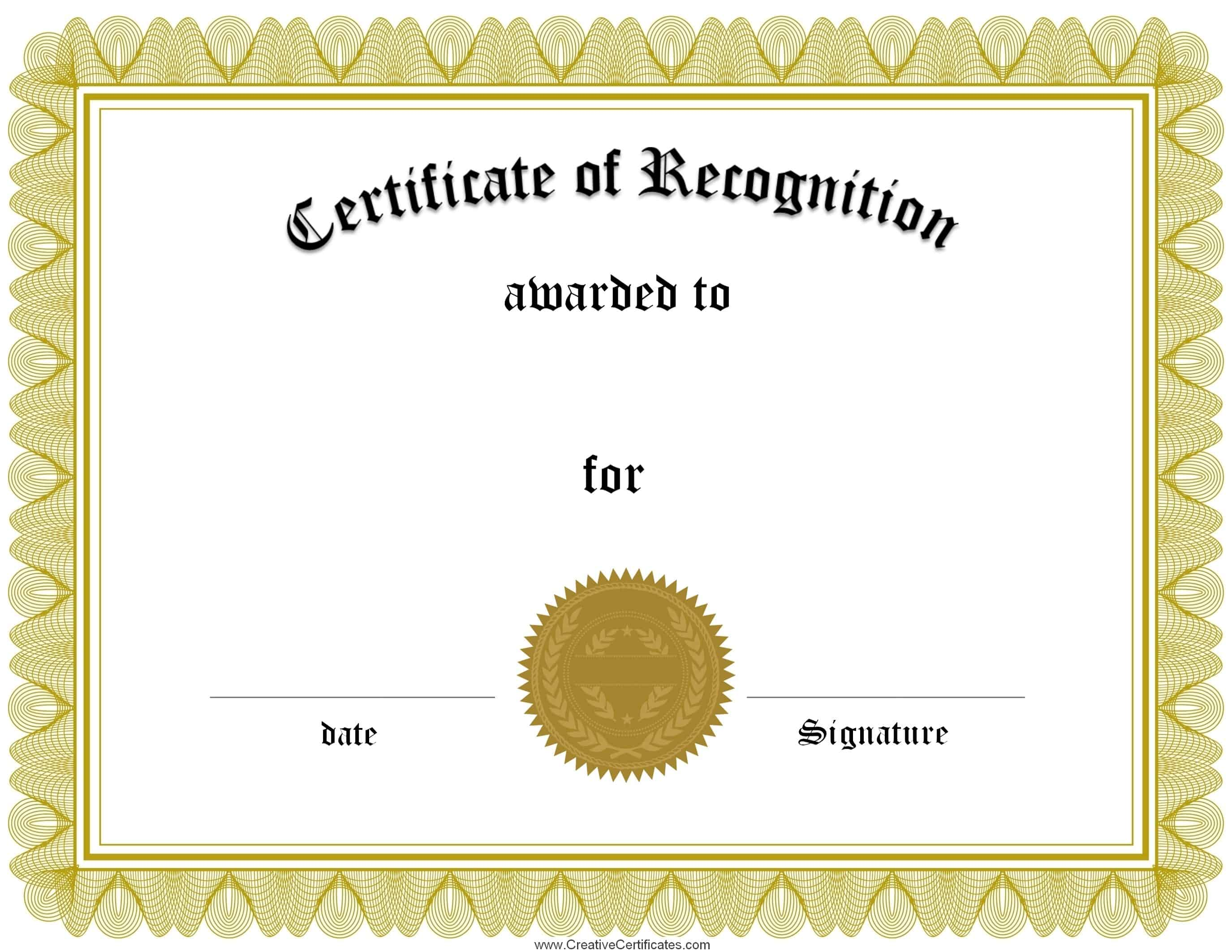 Free certificate of recognition template – Sample Printable Certificate Template