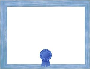 blank certificate template with a blue border and a blue award ribbon