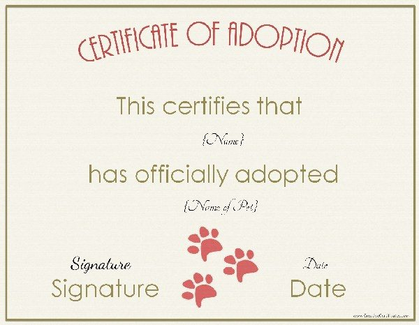 Adoption certificate for Printable adoption certificate