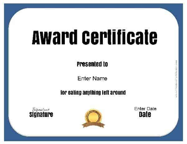 funny work certificates