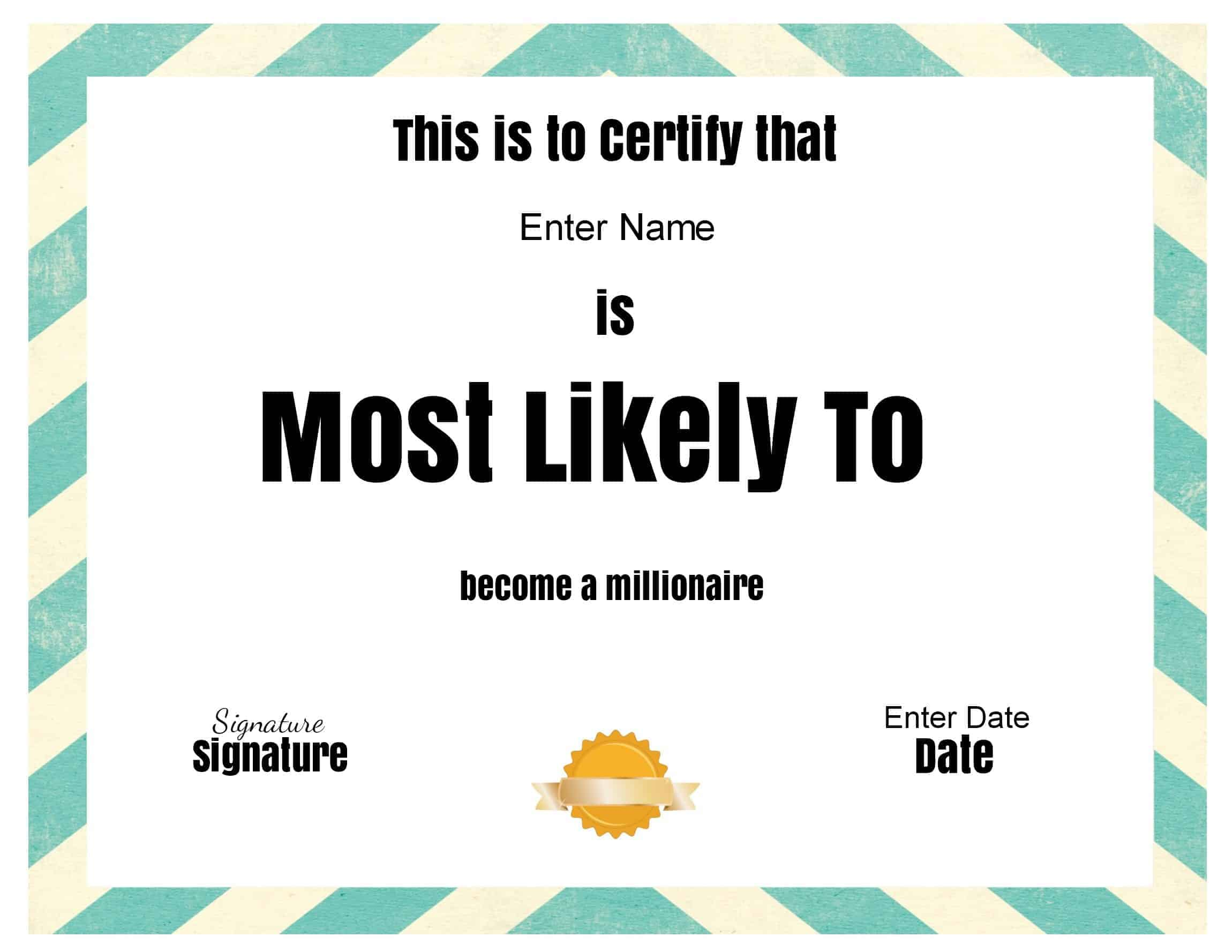 superlative award most likely to awards printable certificates