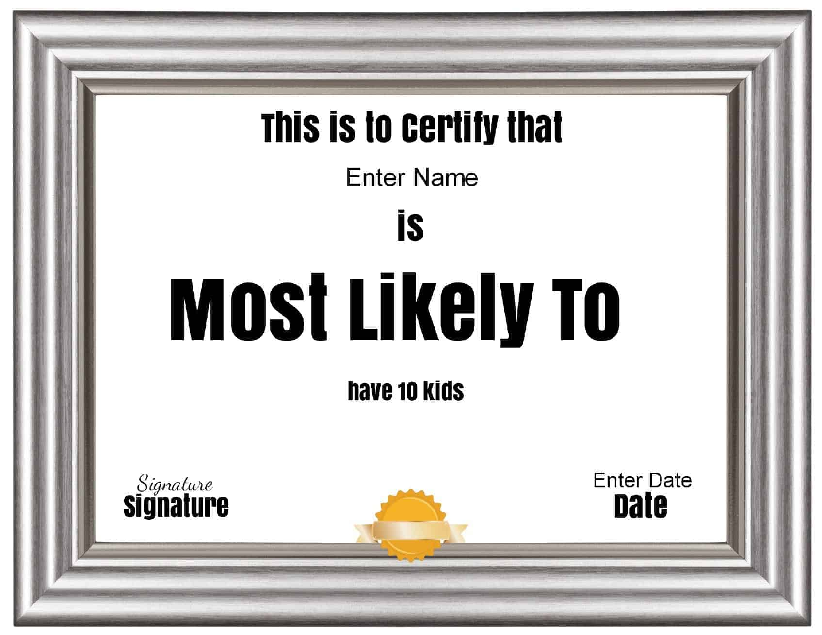 "Free Customizable ""Most Likely to Awards"""