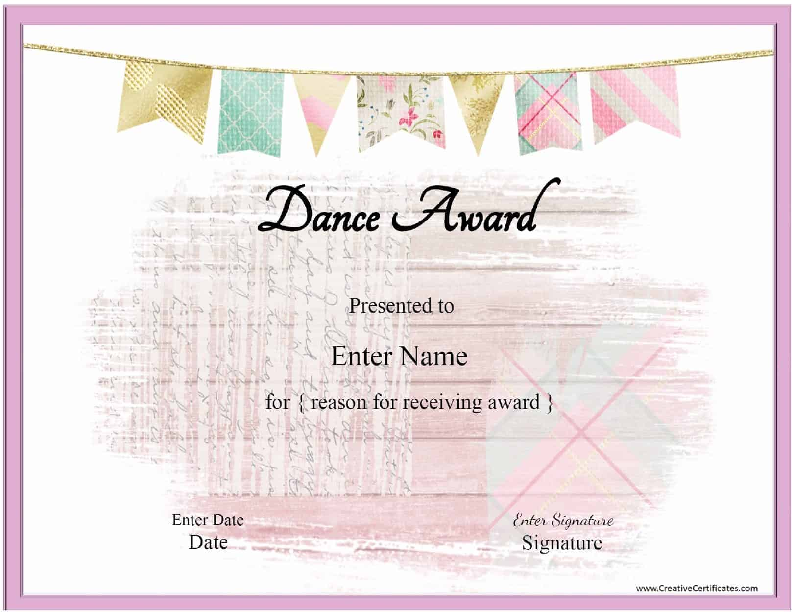 Dance award with a pink banenr and a pink frame