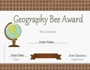 award certificate with a globe