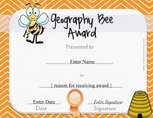 Award certificate template with a bee and a hive