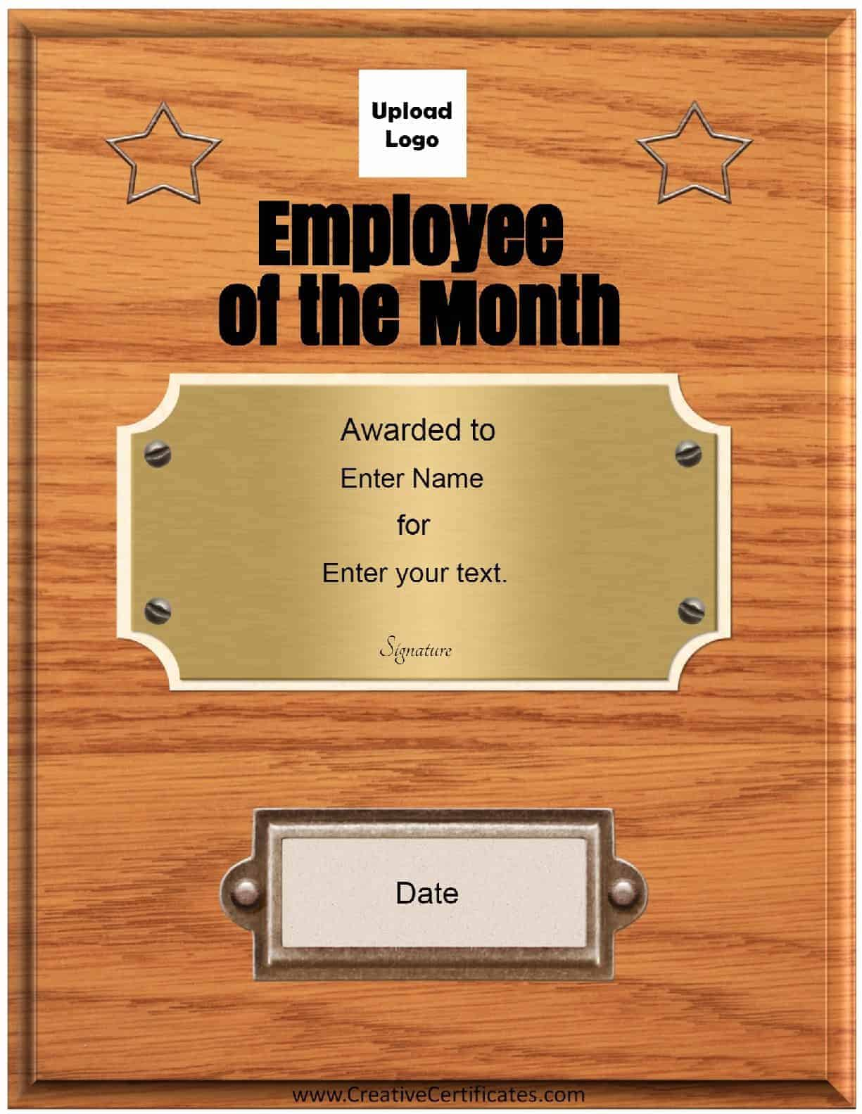 Free Custom Employee of the Month Certificate – Employee of the Month Certificate Template Free