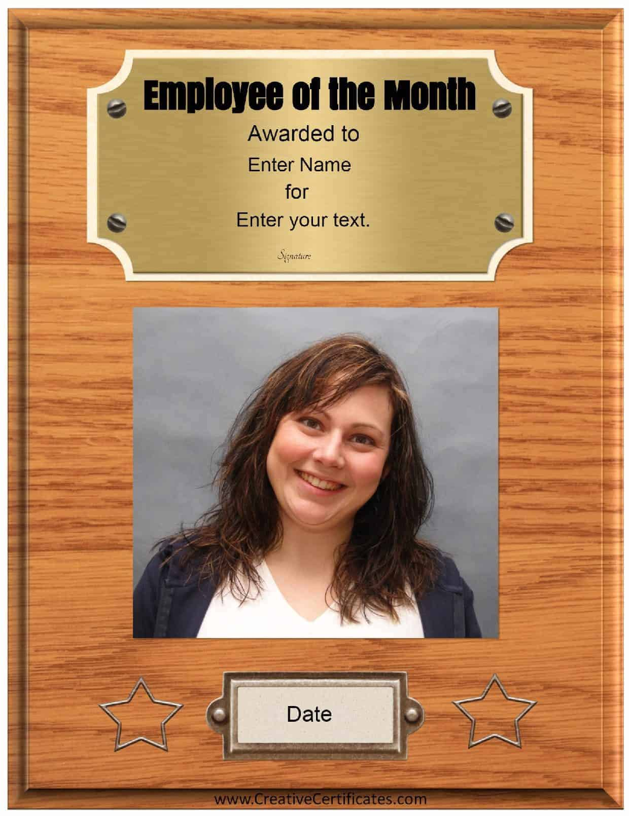 Free Custom Employee Of The Month Certificate