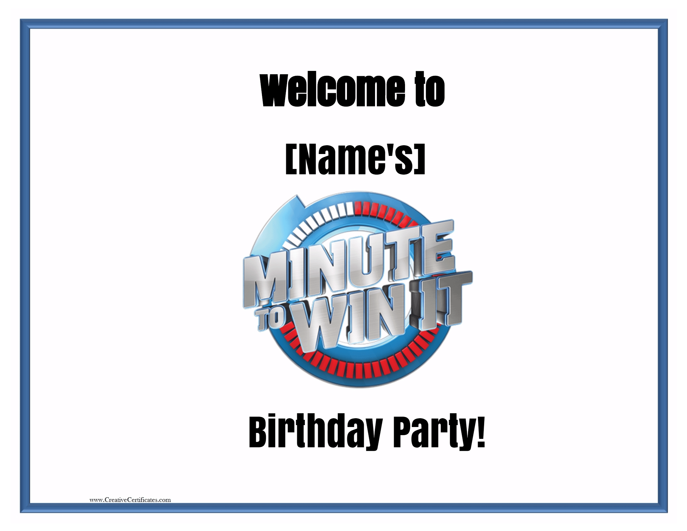 Minute To Win It Games Free Printables