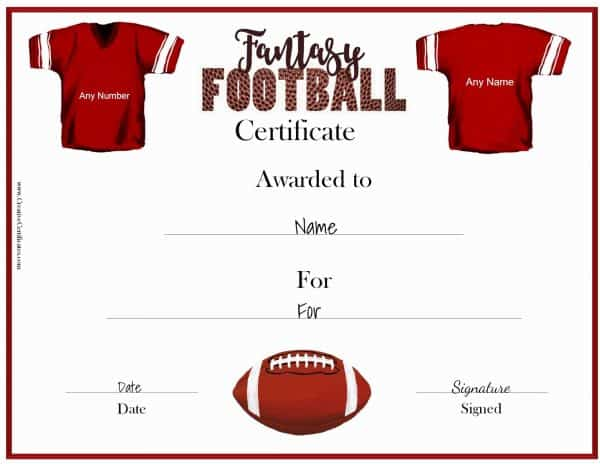 Fantasy Football Award Certificate