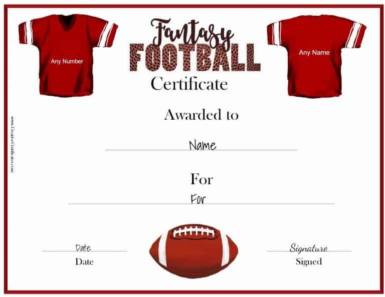 Comfortable Football Award Certificate Template Pictures Inspiration
