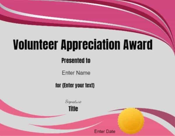 Volunteer Certificate of Appreciation | Customize Online then Print