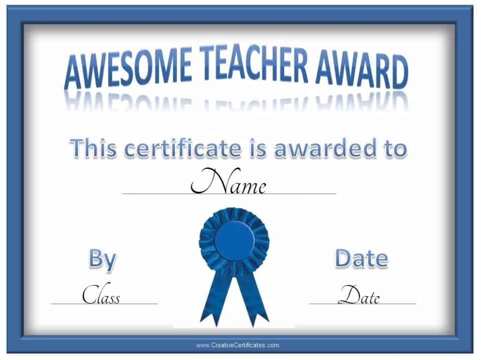 Free Certificate Of Appreciation For Teachers Customize