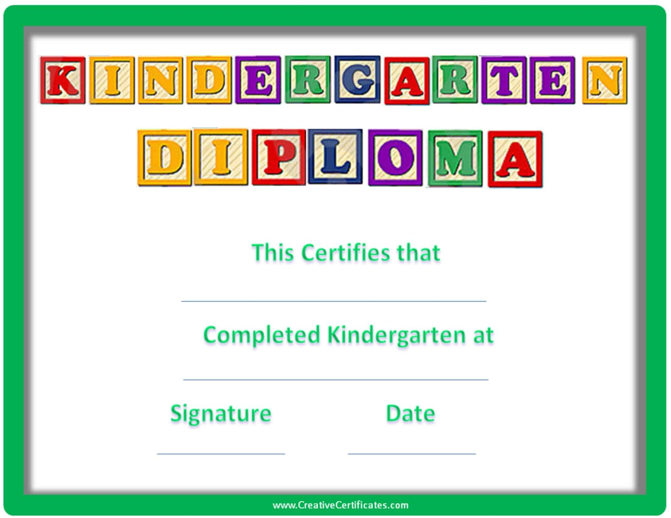free custom kindergarten graduation certificates
