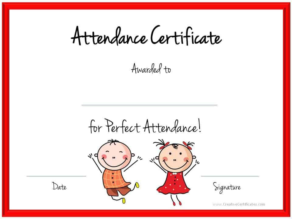 Attendance Certificates Free Templates | Free Printable Certificates For Perfect Attendance 3d House Drawing