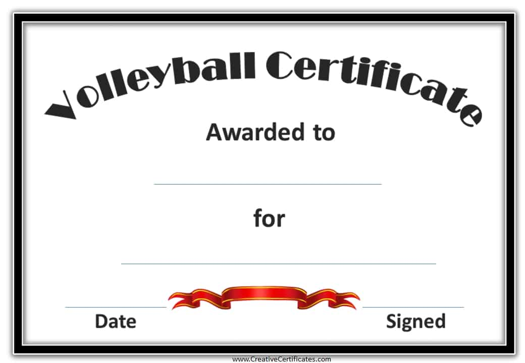 free volleyball certificate templates