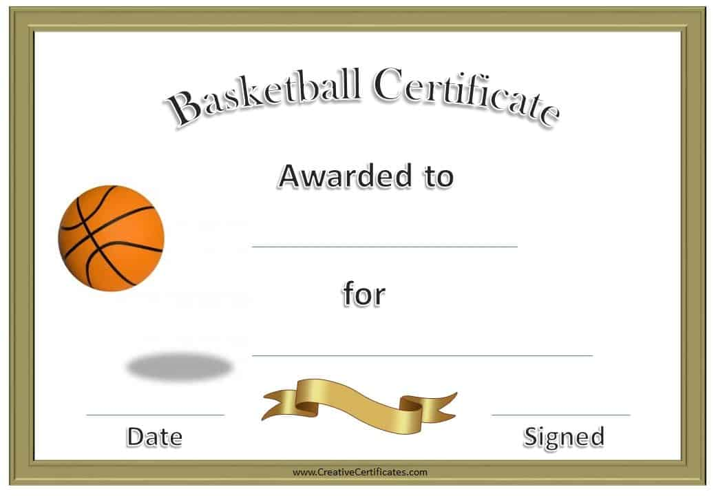 Unusual image in printable basketball certificates