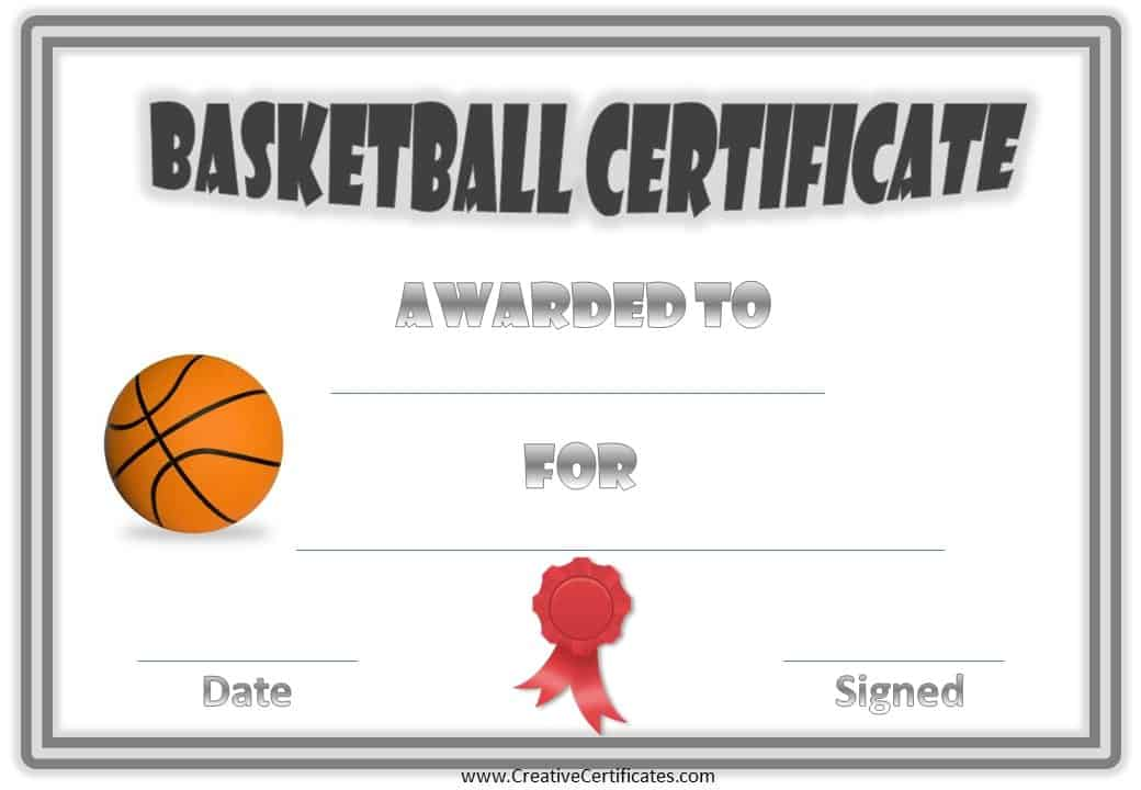 Free Editable Basketball Certificates Customize Online Print At Home