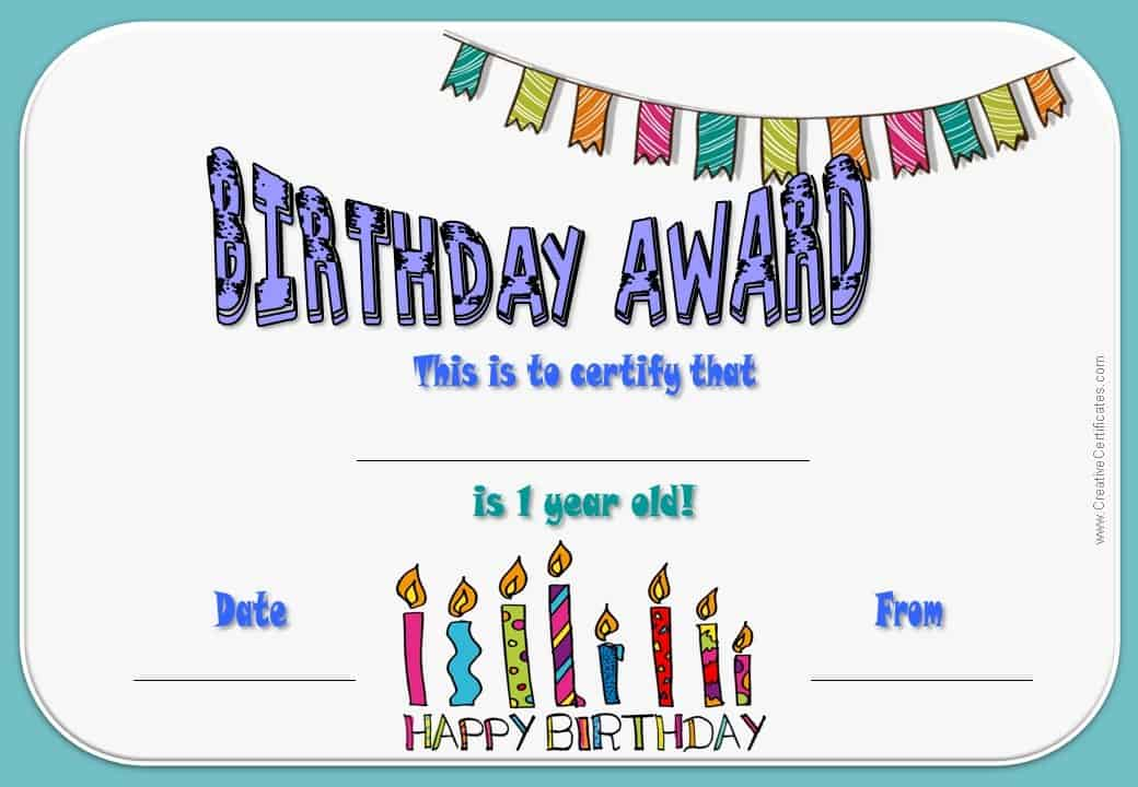 Free Happy Birthday Certificate Template Customize Online