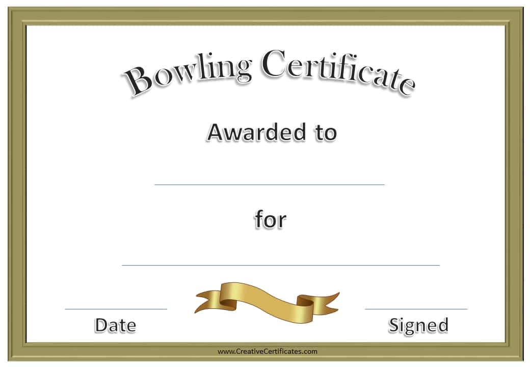 free bowling certificate template