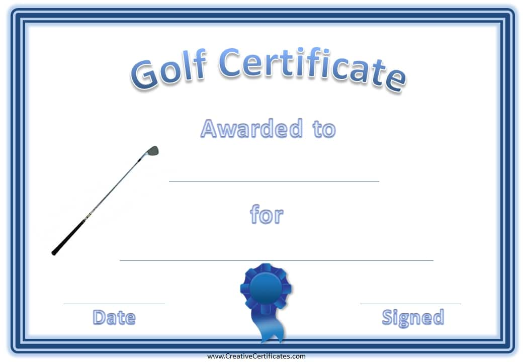 Free Printable Golf Certificates | Customizable