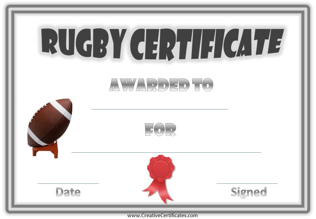 Free Printable Rugby Award Certificate