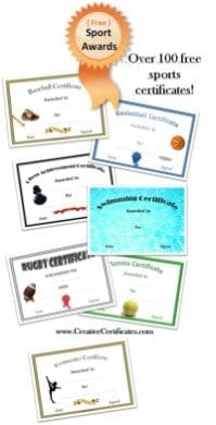 free sports certificates customize online print at home
