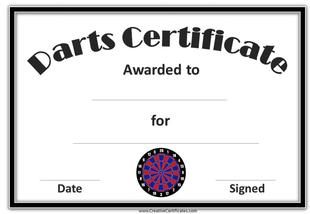free printable darts award