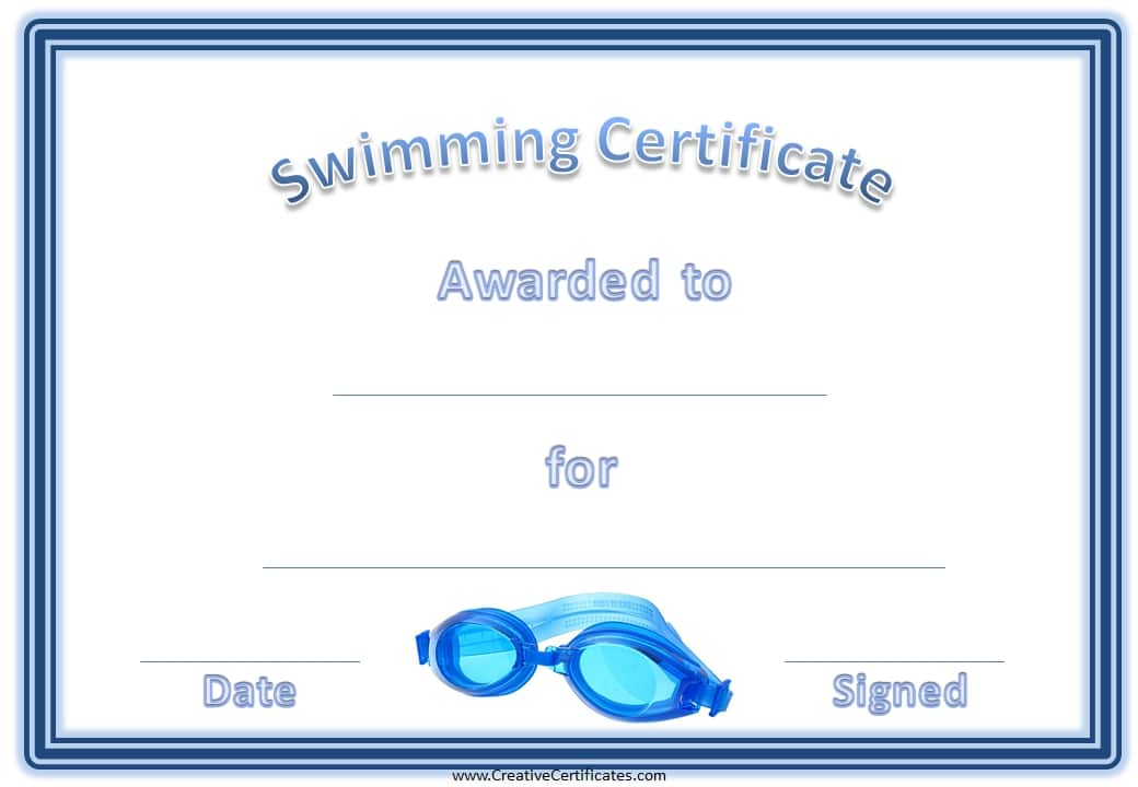 Sport Award With A Blue Border And Swimming Goggles